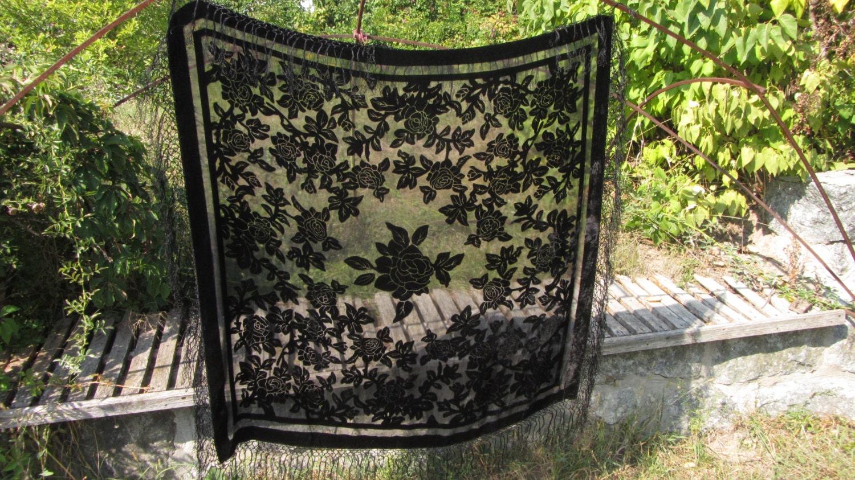 Black Silk Viscose Transparent Shawl Evening Dress Accessorie, Black Dress Acces