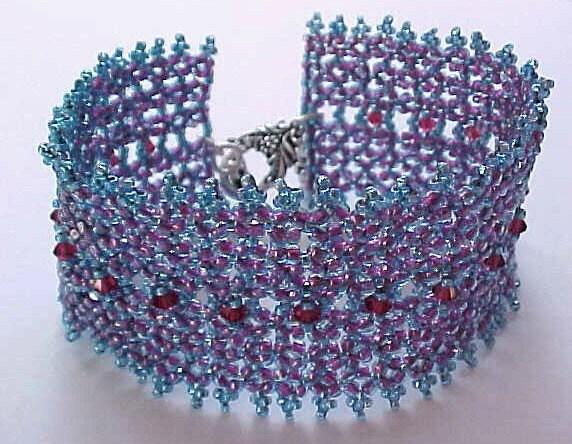 Ruby Blue Bead Woven Bracelet