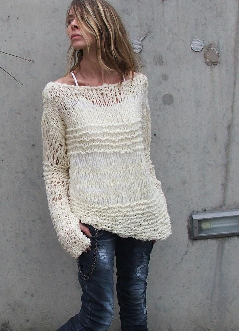 ivory cream asymmetrical Version2 oversized grunge sweater