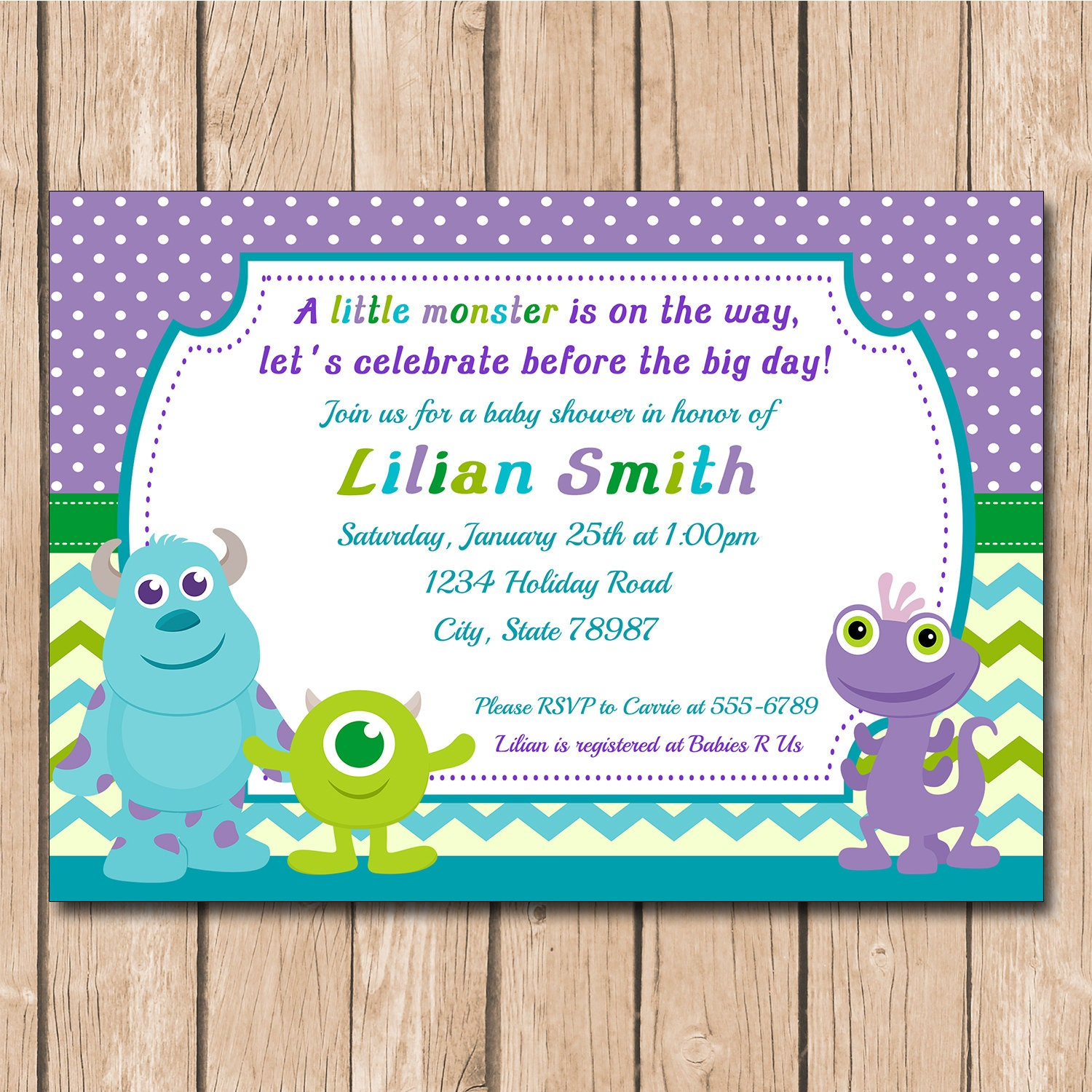 Mini Monsters Inc. Baby Shower Invitation by ...