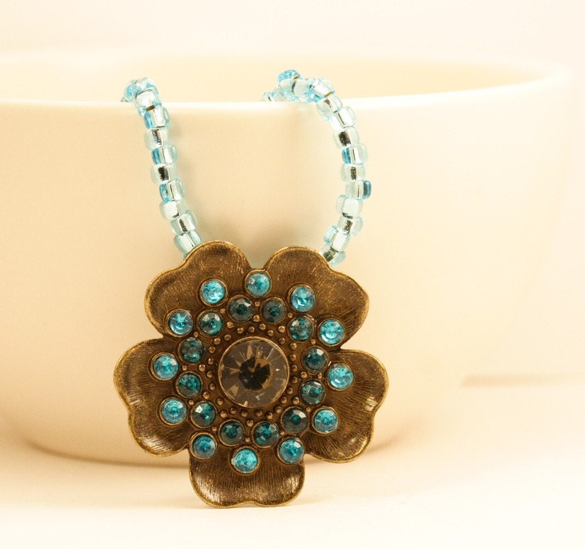 Turquoise Blossom Brass Jeweled Necklace