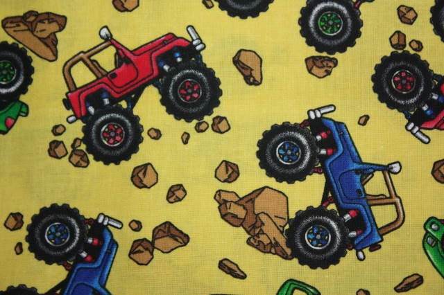 Discounted oop monster truck fabric one yard offroad by for Monster themed fabric