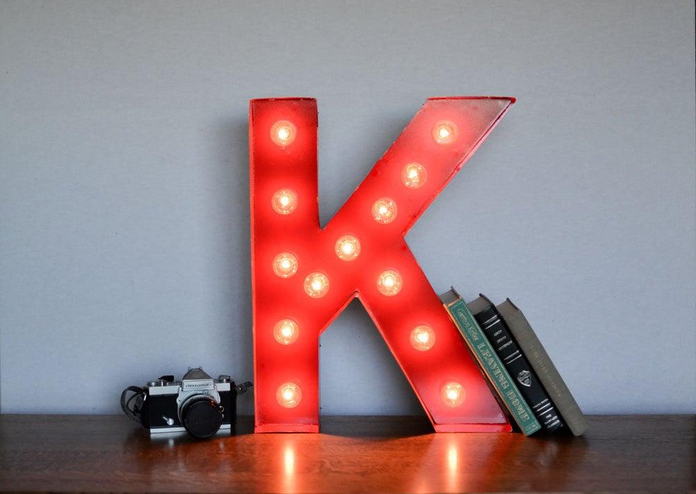 Vintage Inspired Marquee Light- Letter K