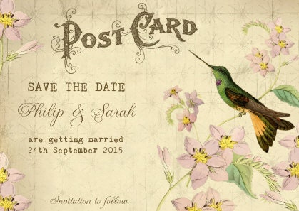 Printable save the date vintage Save the Datehummingbird save the date postcard save the date printable save the date personalised