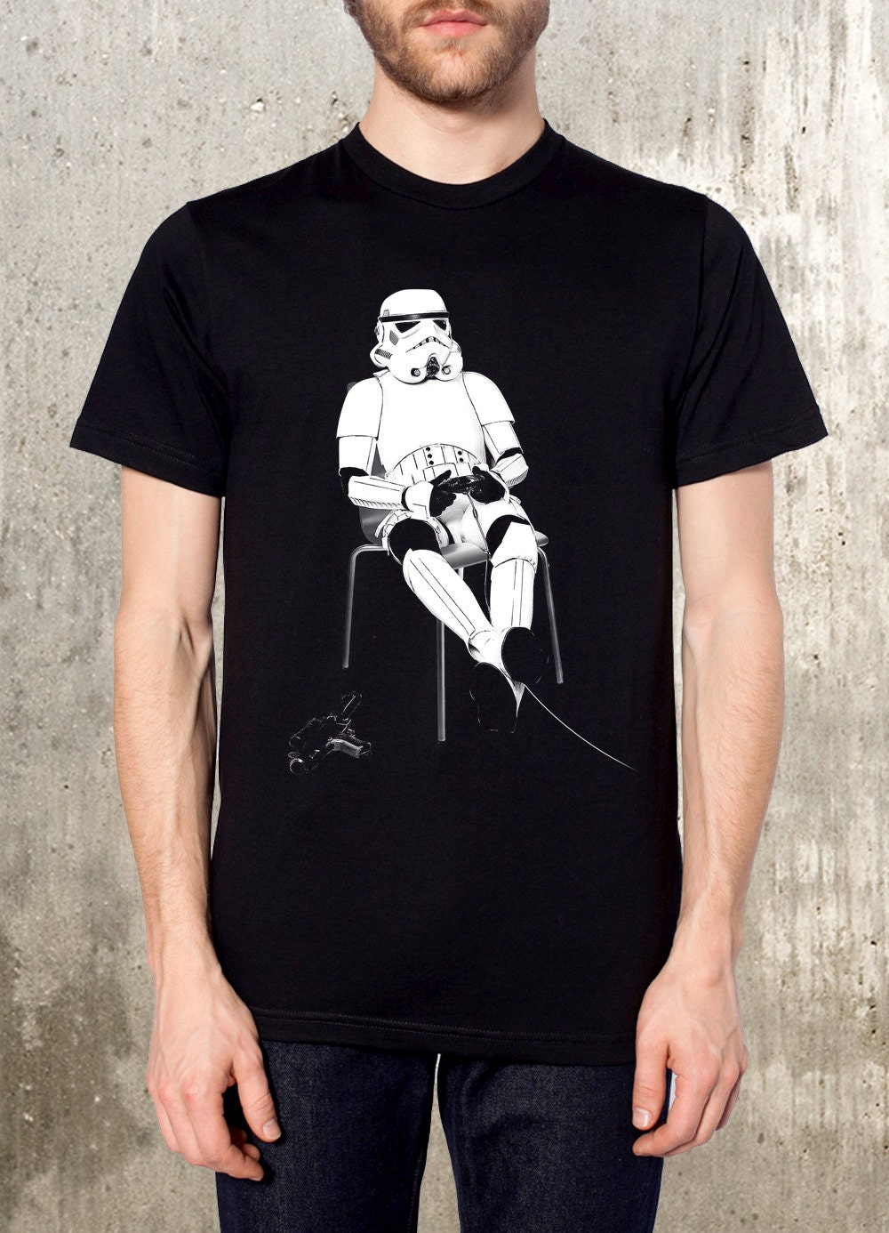 Storm Trooper Playing Nintendo - Men's Screen Printed T-Shirt - Available in S, M, L, XL and XXL - CrawlspaceStudios