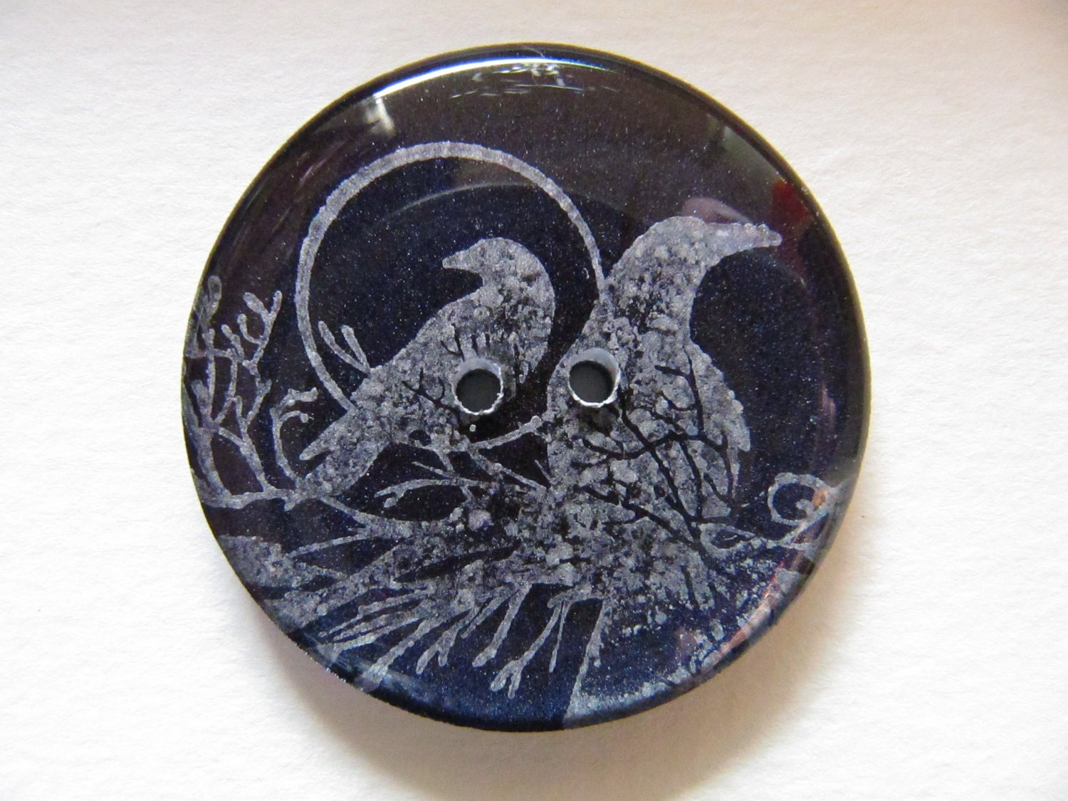 Set of 2 Handmade Resin Buttons - FREE U.S. Shipping - Midnight Purple with Silver Ravens on a Brach in Front of a Full Moon