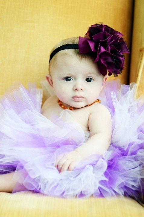 Пурпурного и черного шифона и тюля Цветочный Puff с кристаллами Stretchy головная повязка или зажим для волос - Бесплатный судна Промо