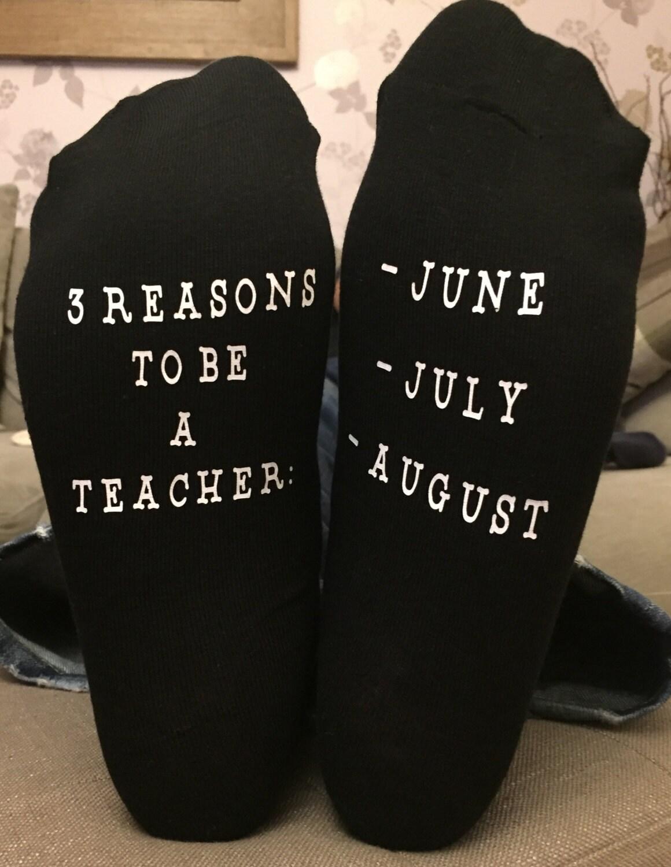 Teachers Socks  Personalised Teachers Gift June July August Teacher Thank you gift