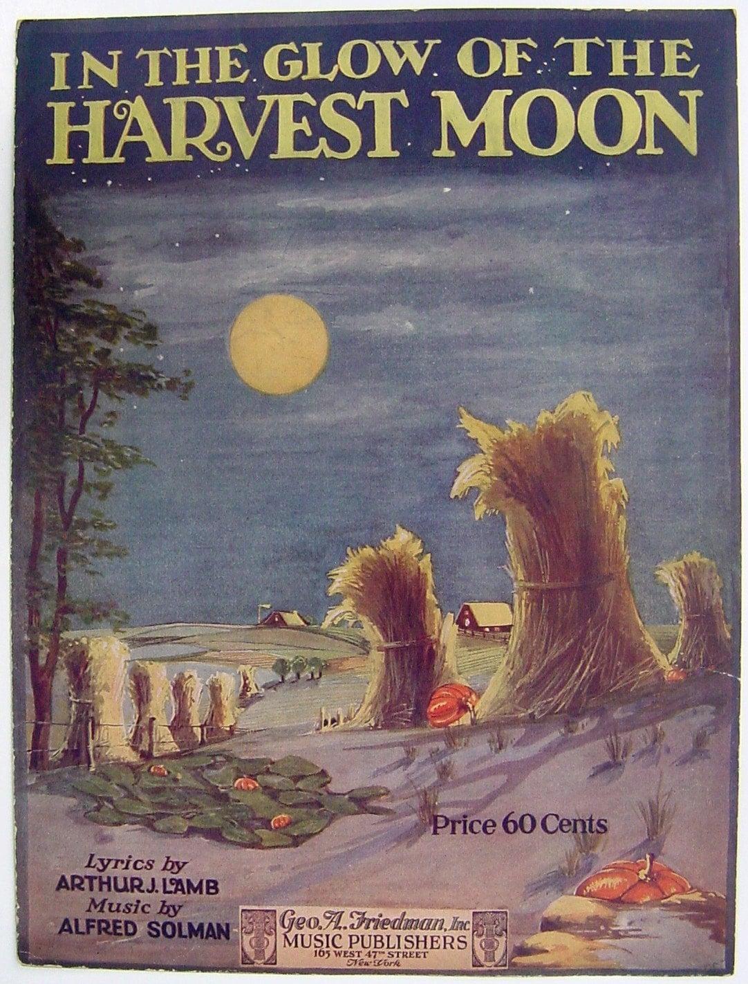 vintage HARVEST MOON 1920 original song music illustration complete