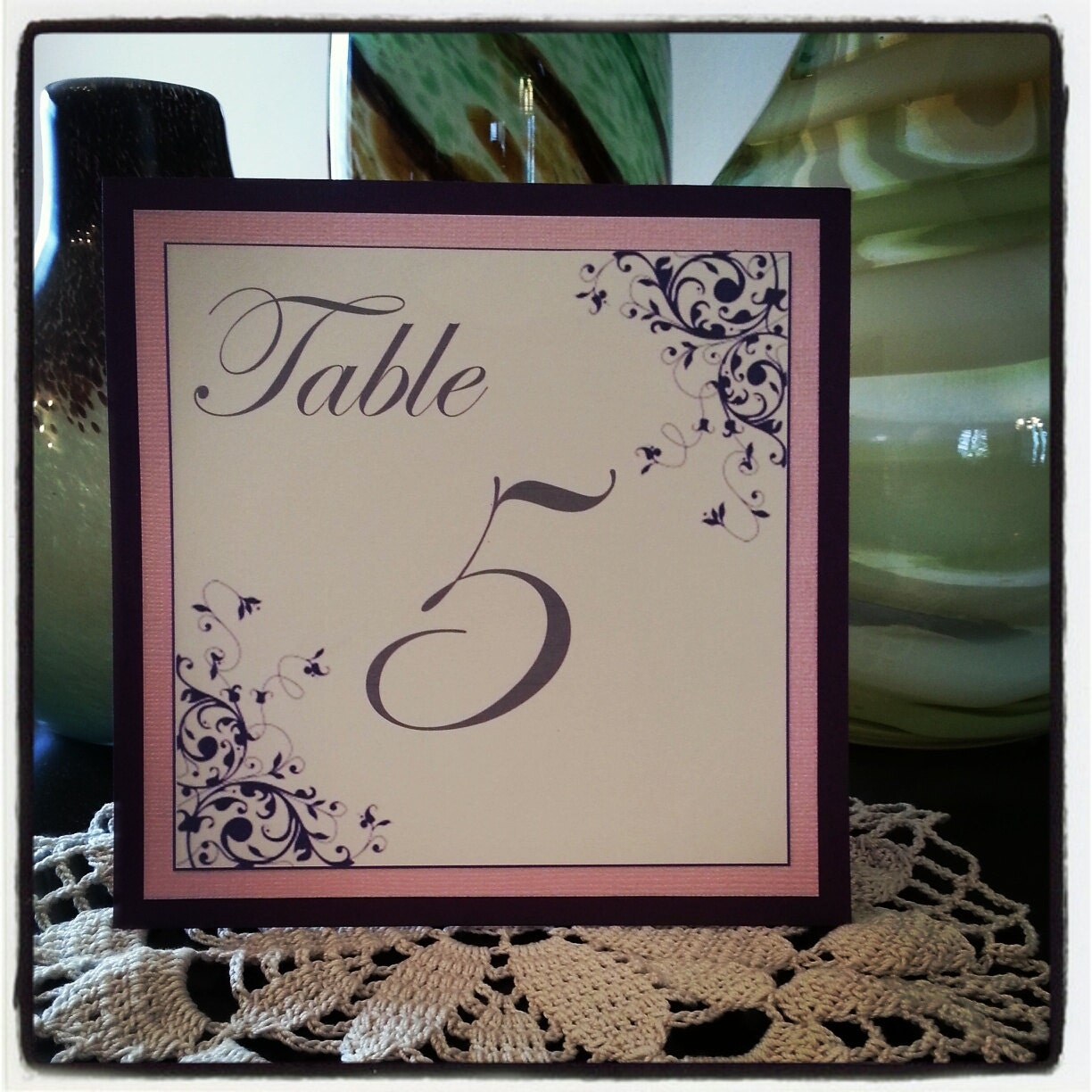 Pink and Purple Wedding Table Number with Flourish