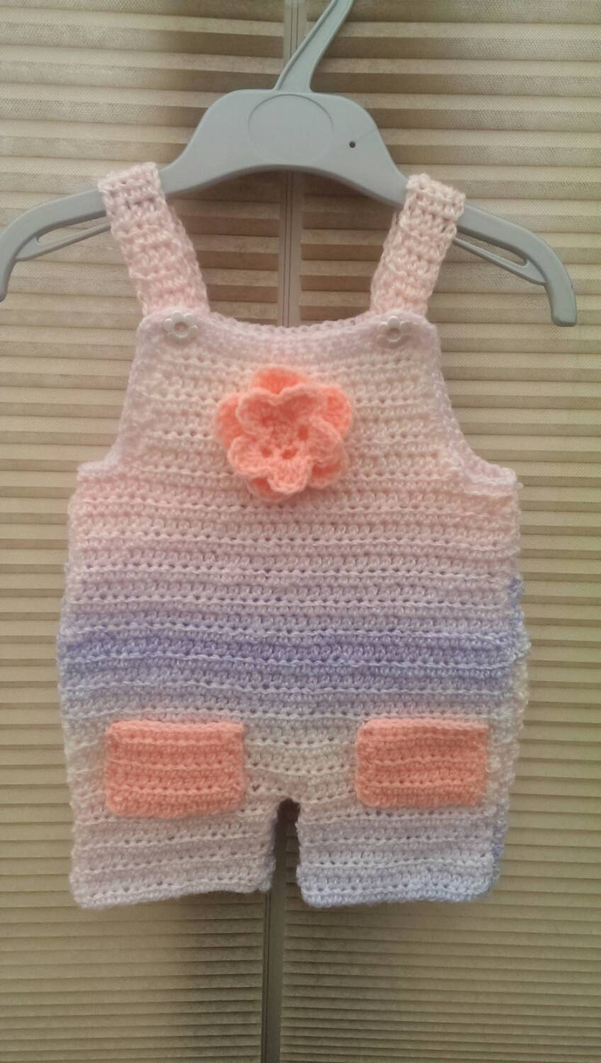 Baby Girl Peach Lilac and Cream Dungarees