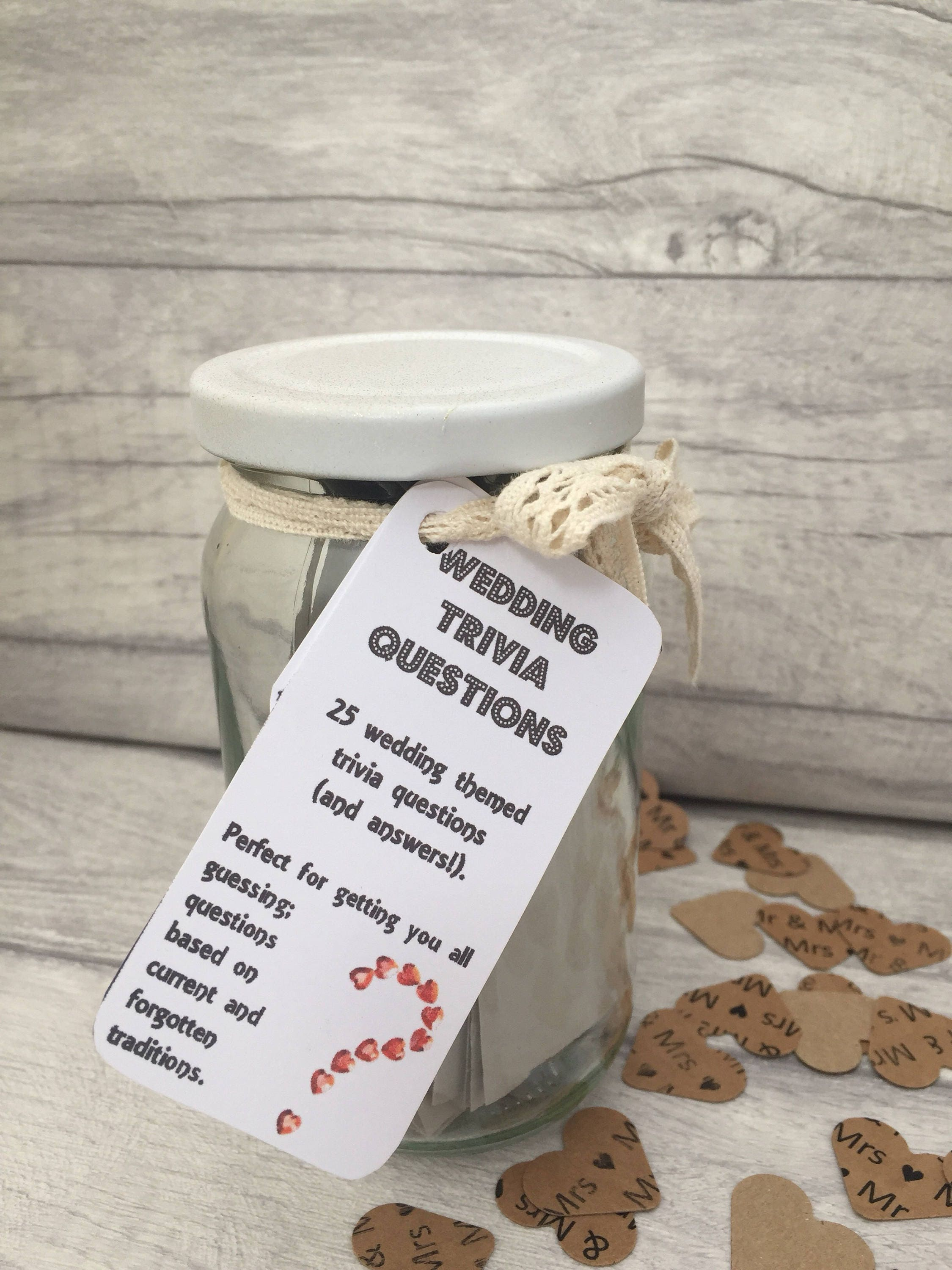 Wedding Trivia  Jam Packed Jars  Wedding Games  Bride and Groom  Hen Party Games