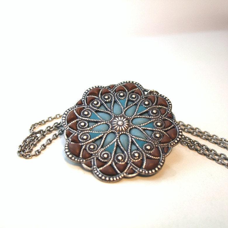 Medallion Mandala blue native motives old style silver pendant energy jewelry - AndreaBacmanJewelry