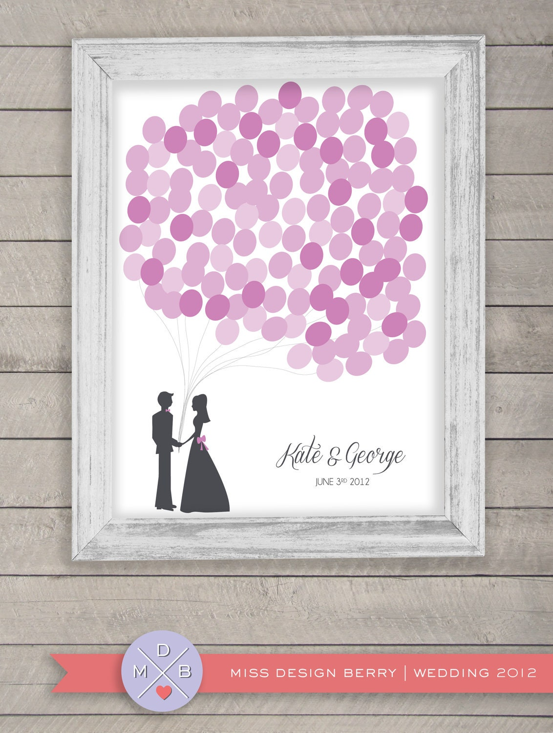 wedding guest book alternative - balloon bunch purples