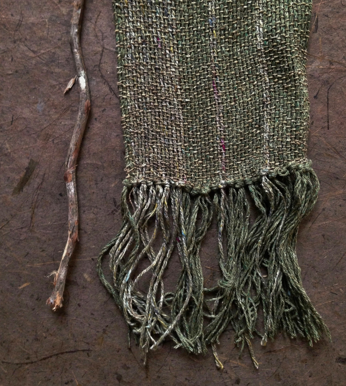 taking root... green silk recycled scarf - TheWeaverOfWords