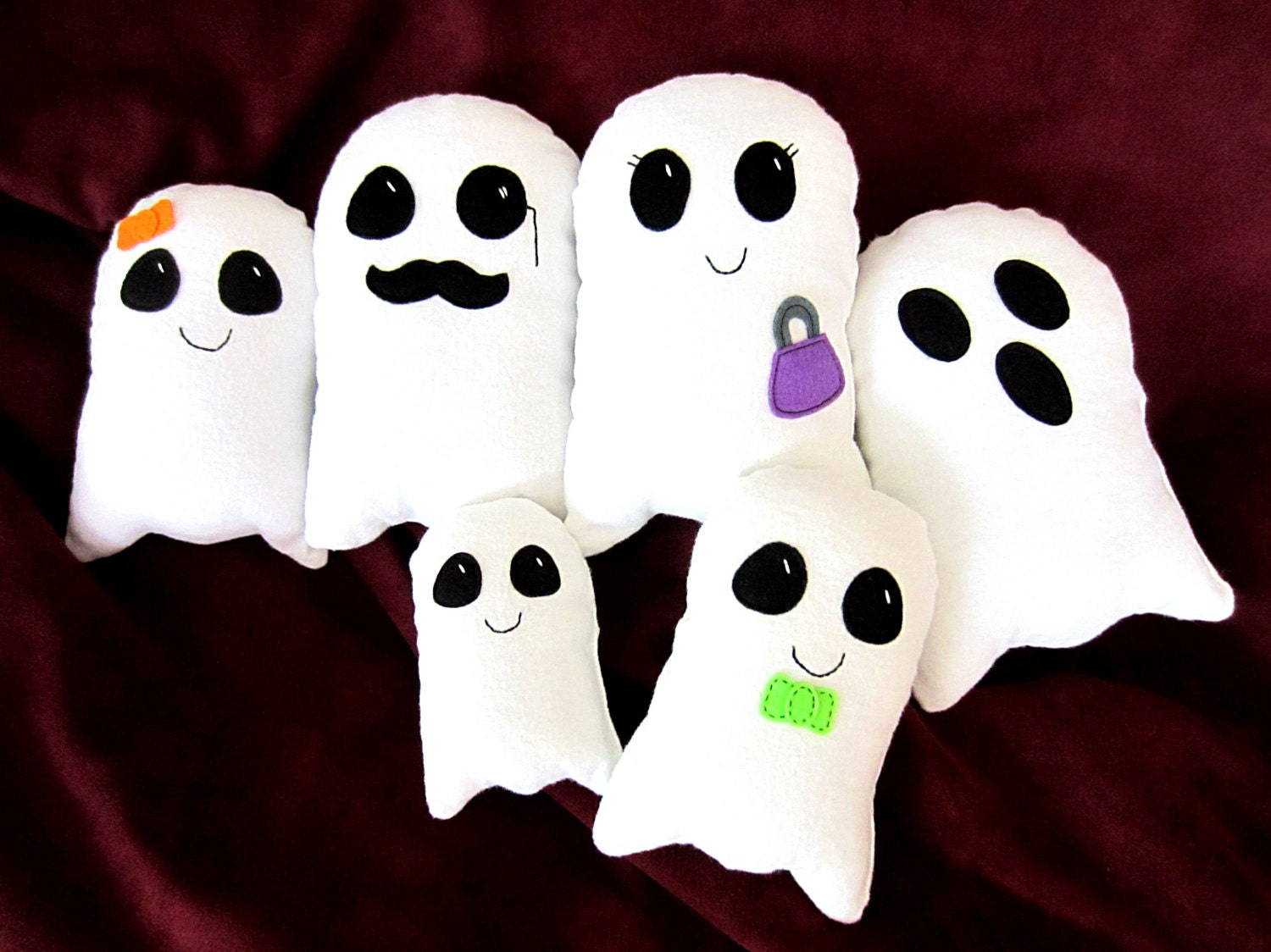 DIY Halloween Ghost Family Stuffed Toy PDF Sewing Pattern Tutorial, Decoration, Trick-or-Treat Favors by My Funny Buddy BONUS Felt Pattern - MyFunnyBuddy