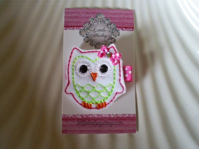 Lillie The Little White Owl Hair Clip