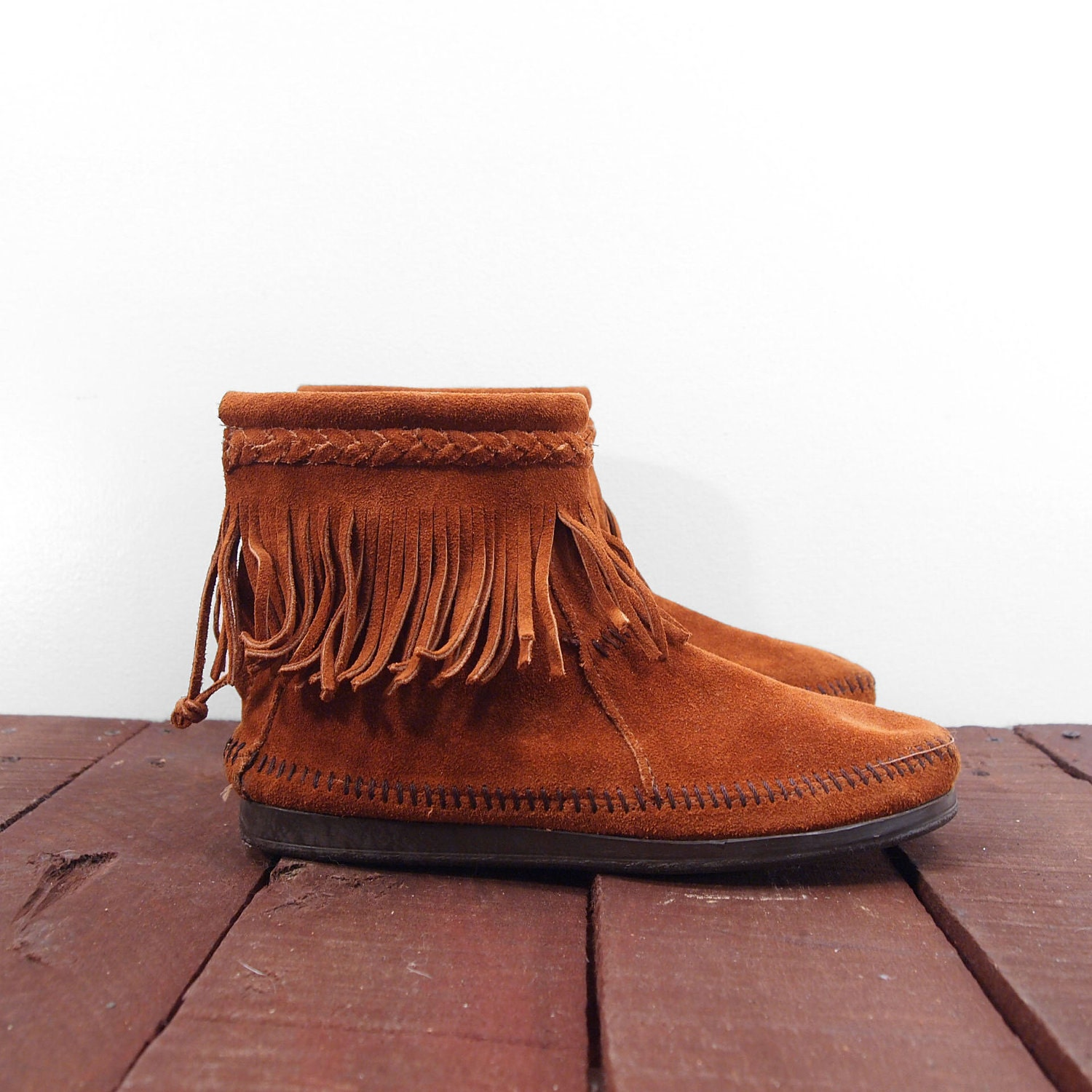 minnetonka fringe moccasin ankle boots for a by nashdrygoods