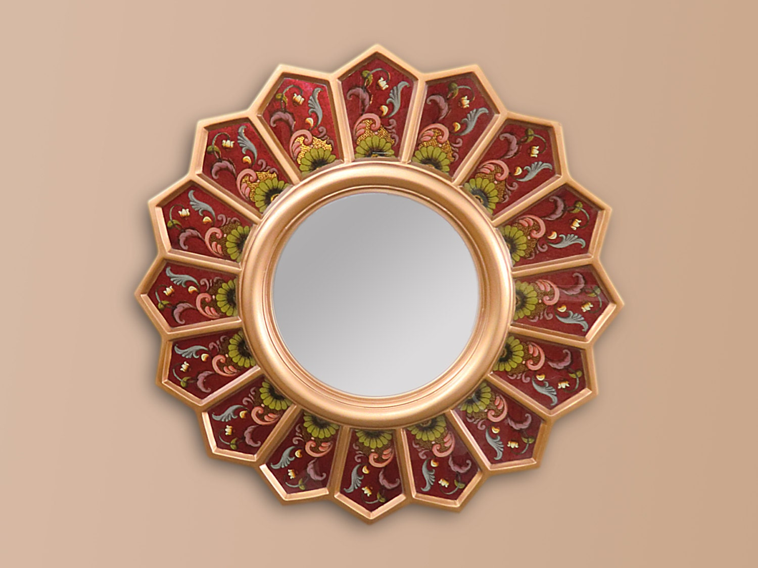 Round sunburst mirror 39 red sunflower 39 small by decorcontreras for Small round craft mirrors