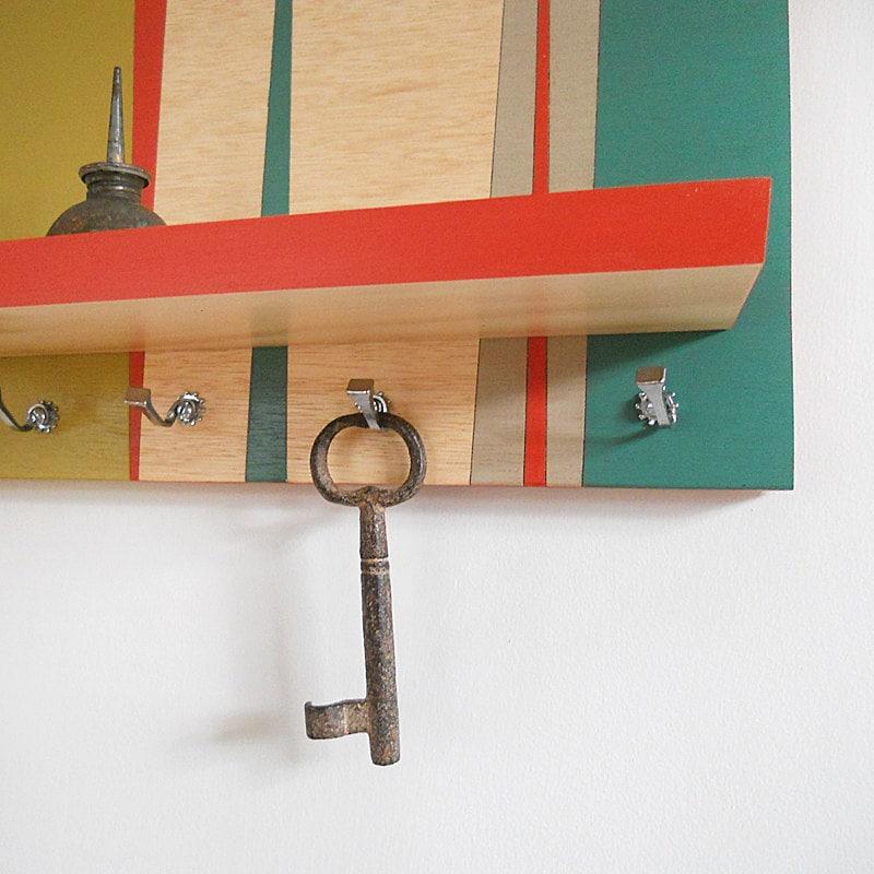 Wall Decor Shelf Retro Decorative Geometric Key Rack By