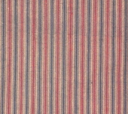 Red, Navy And Tan Ticking Cotton Homespun Fabric By The Yard