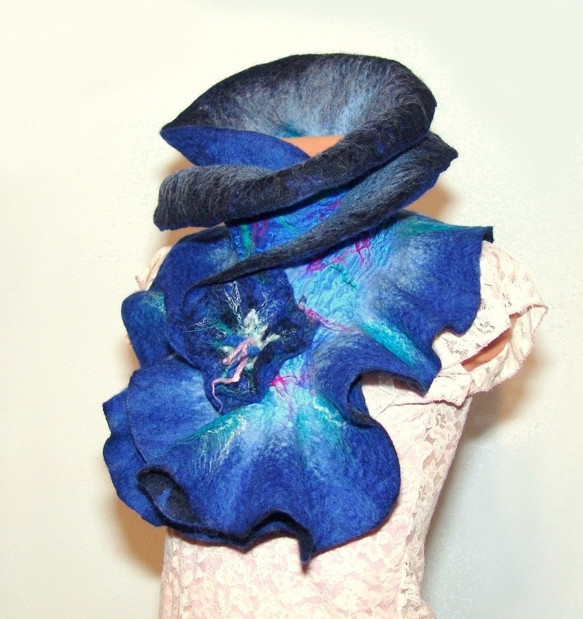 Felted scarf  ruffle   Blue with felt flower brooch by galafilc from etsy.com