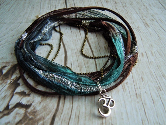 Om Anklet Ankle Wrap Yoga Anklet Teal Brown Silver Anklet Boho Style Yoga Gift For Her Birthday Gift Om Jewelry Yoga Accessories