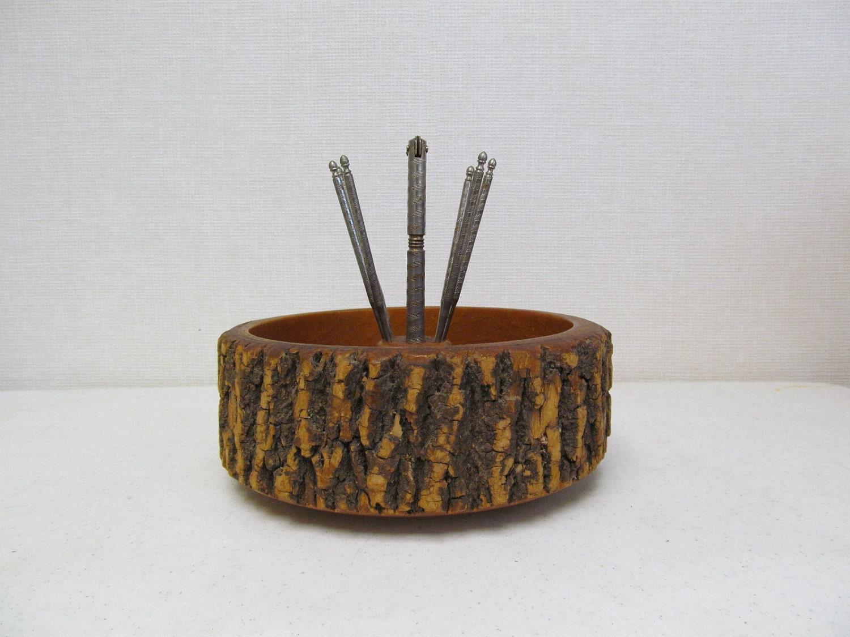 Vintage Rustic Ware Log Nut Bowl with Nutcracker by DaveysVintage
