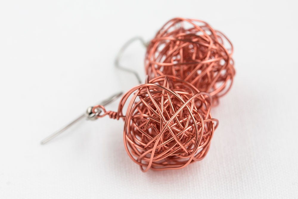 earrings wire ball handmade in copper freeformed beads on silverplated hooks for everyday to feel happy - goodrun