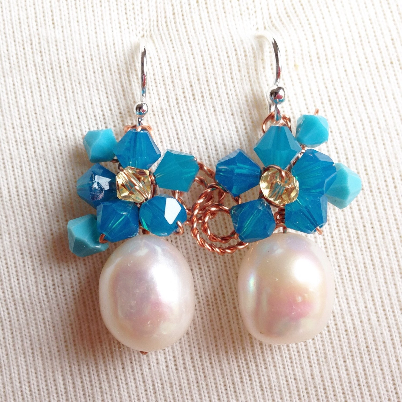 Pearl earrings  Blue earrings  Blue Jewellery  using Fresh water pearl and Swarovski elements  pearl dangle earrings  something blue
