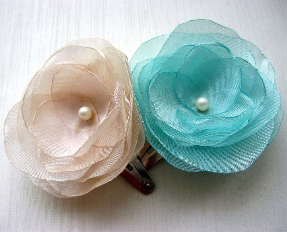 Ivory and Tiffany Blue Organza Flowers Hair Clip Set