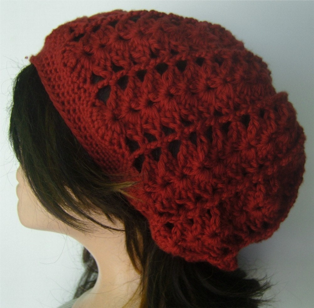Slouchy Tam Beret Beanie - Lacy Crochet Scarlet Red