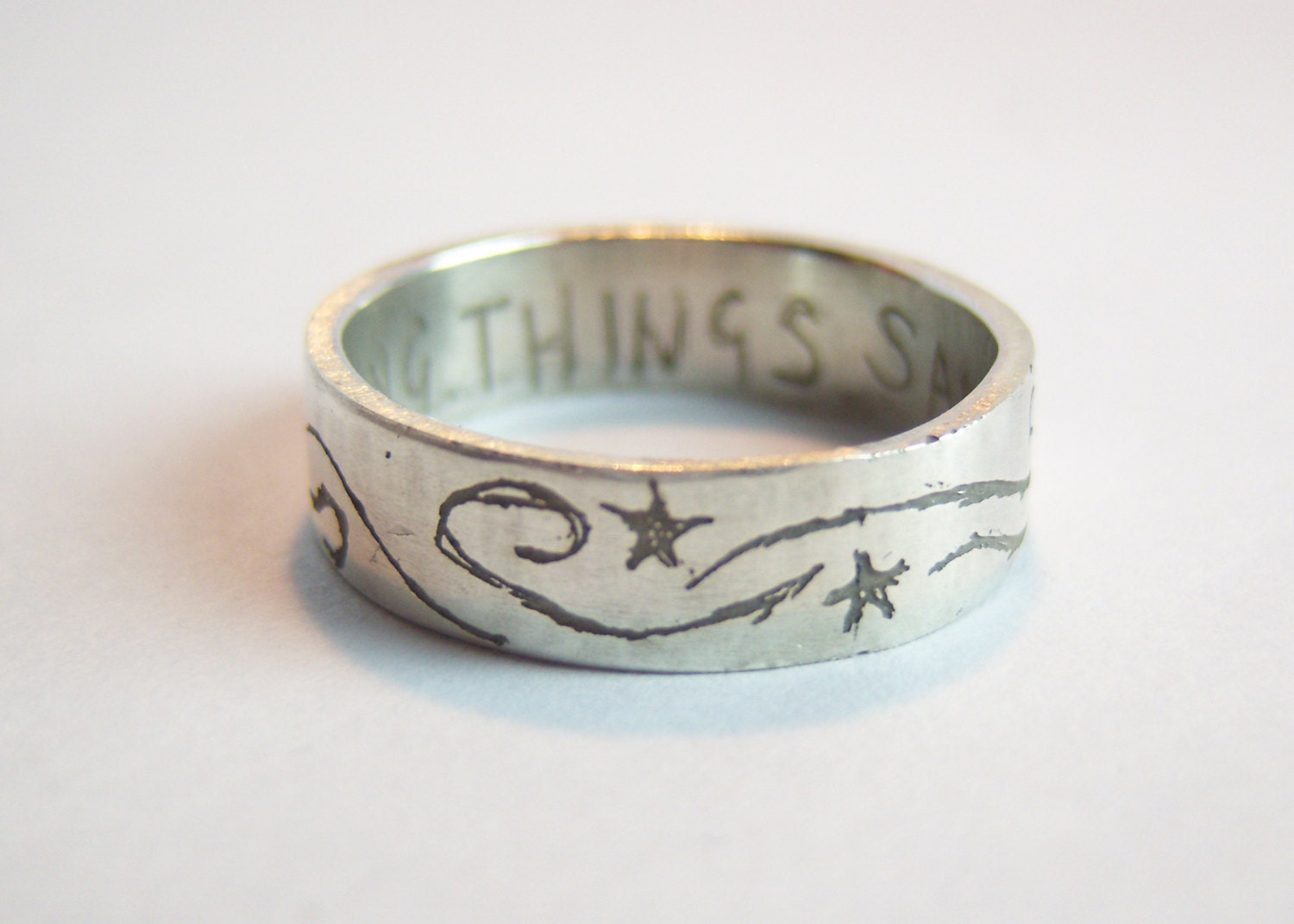 Supernatural etched silver ring Saving People Hunting Things quotation.