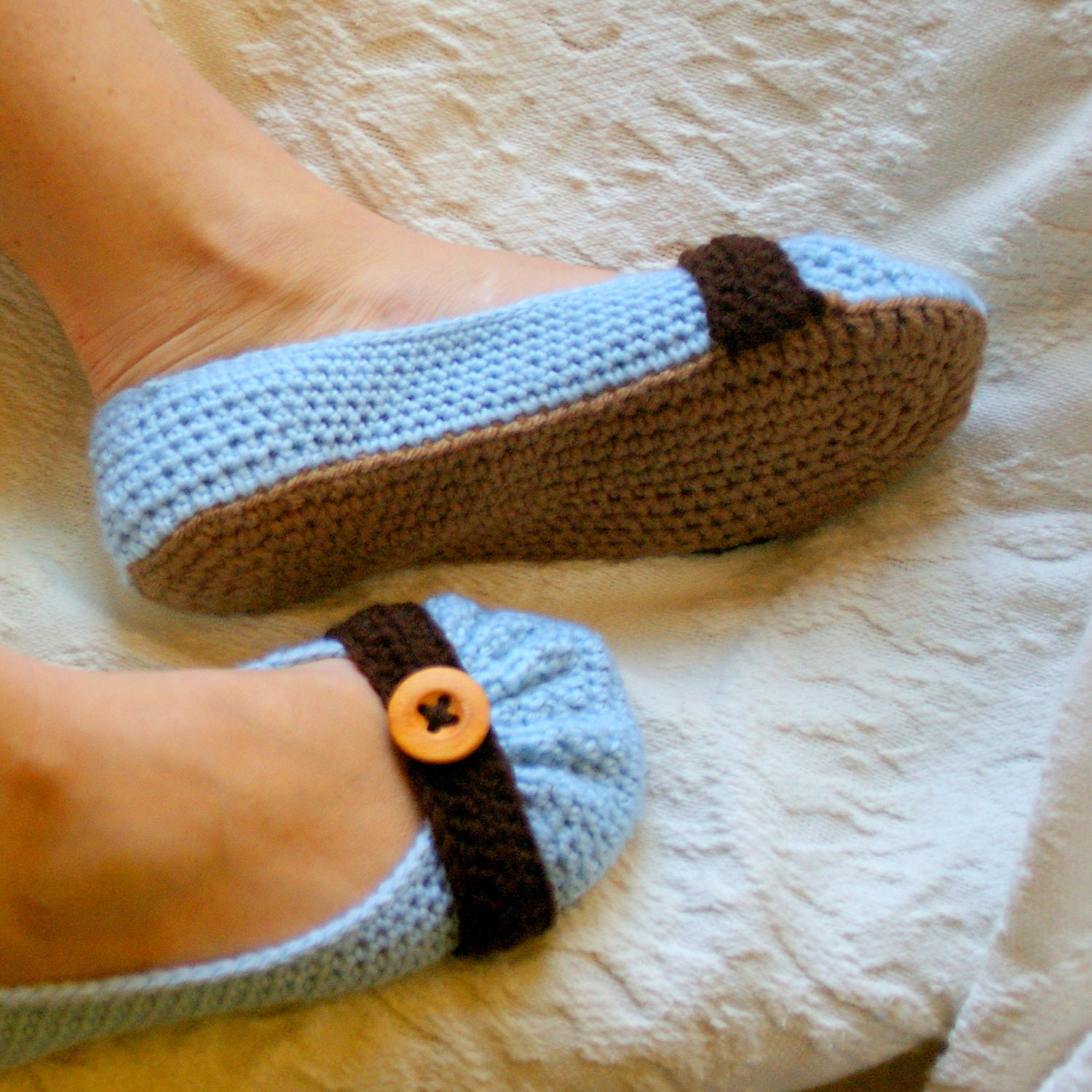 House slipper Crochet Pattern for Cute as a Button Ballet Flat House Slippers Pattern number 111