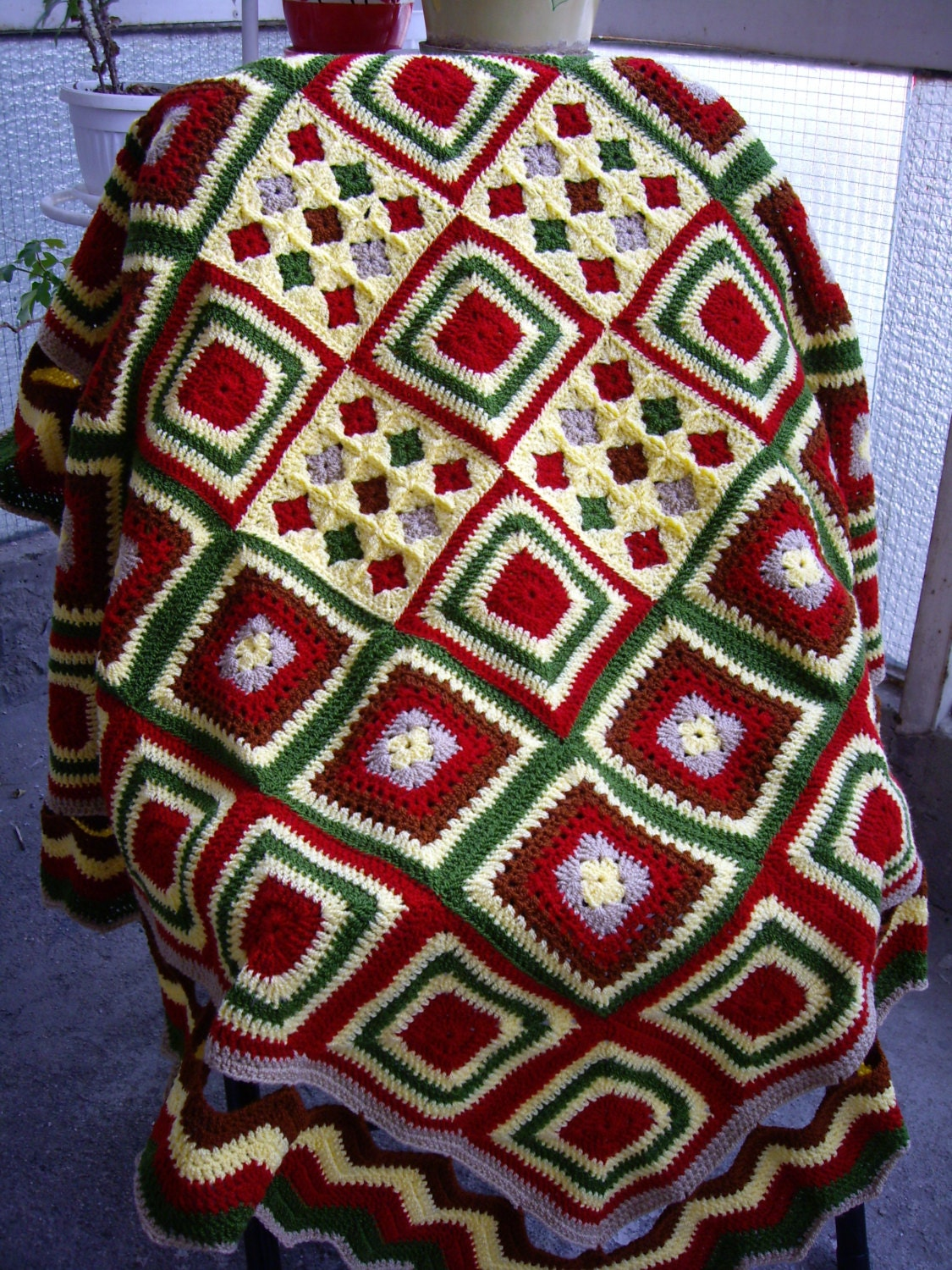 Knitting Granny Square Blanket : Granny square crochet blanket knitting patchwork by