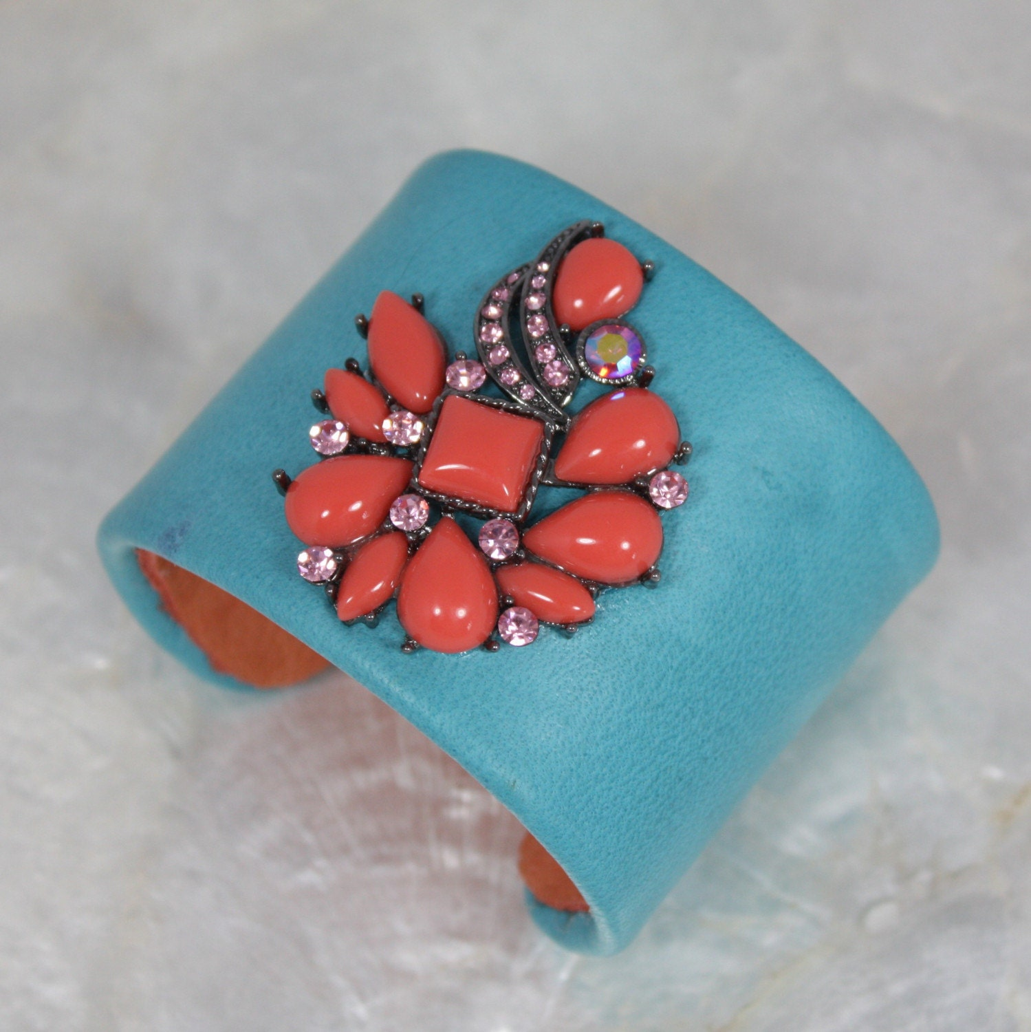 Turquoise and Coral Jeweled Leather Cuff Bracelet-- Limited Edition