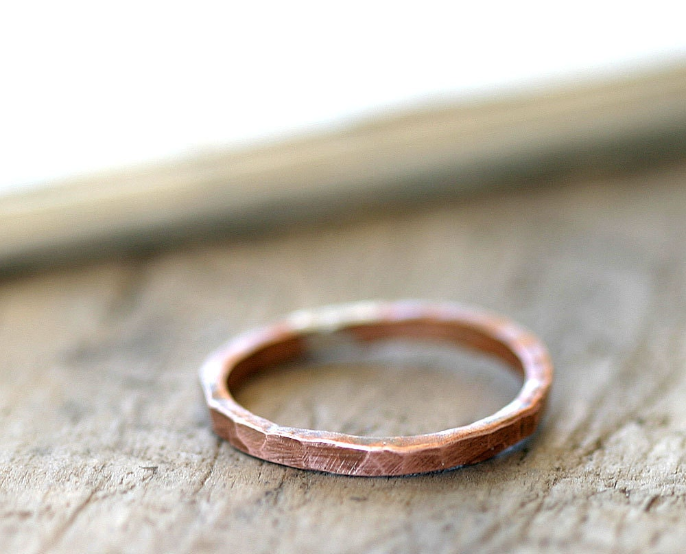 Simple hammered copper ring organic shaped stackable ring