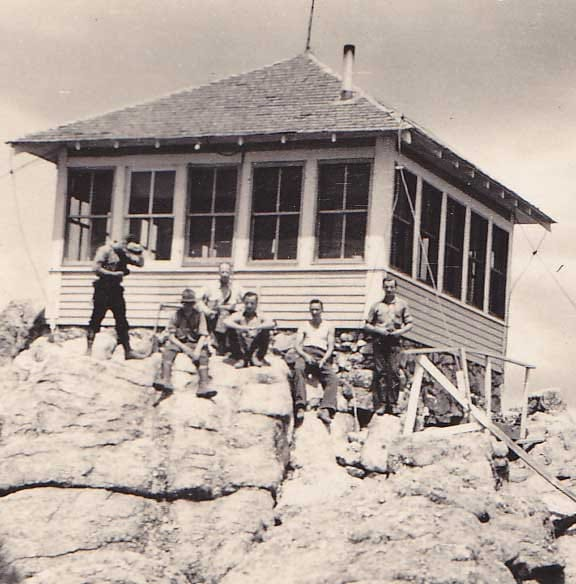 Vintage Black and White Photograph of Geology Students at Ranger Station