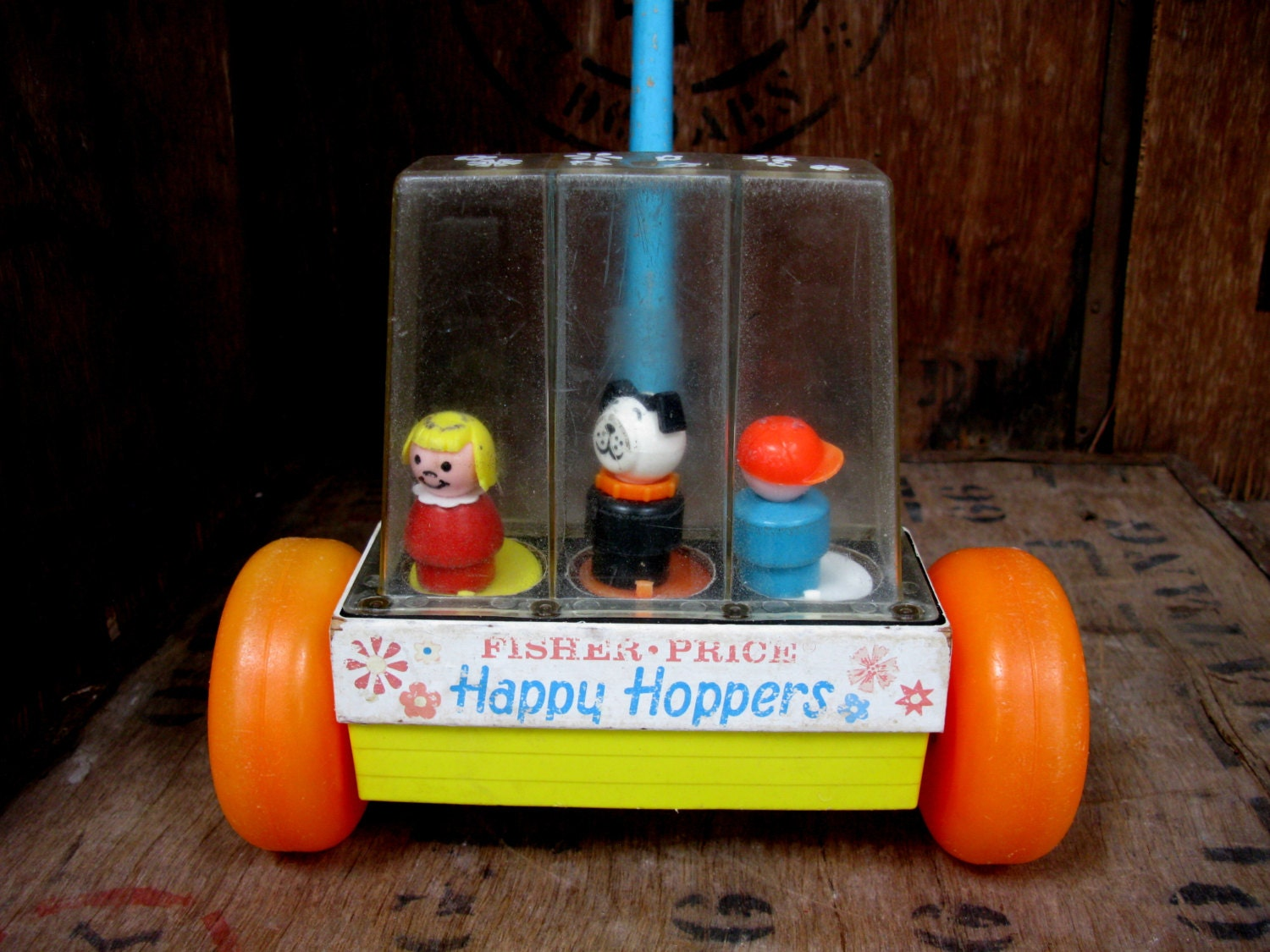 Happy Hoppers Toy Fisher Price Vintage Fisher Price 1960s Toy Fisher Price Toy Push Along Toy Toddler Toy Roller Toy Walker Toy