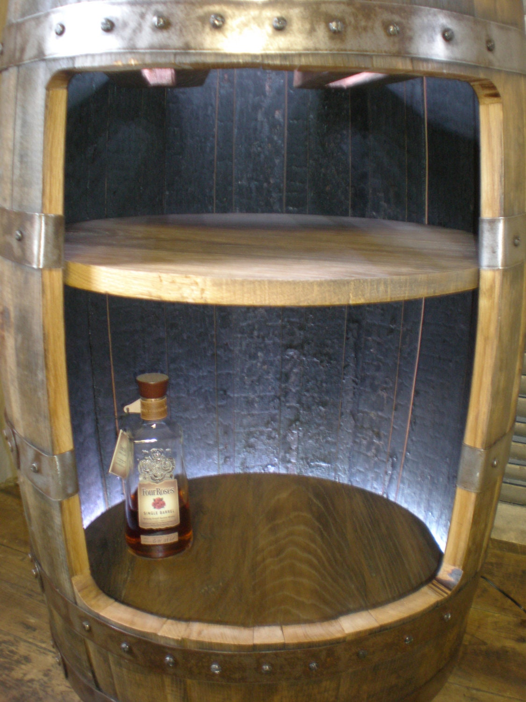 Whiskey barrel liquor cabinet bar reserved for by for Diy whiskey barrel bar