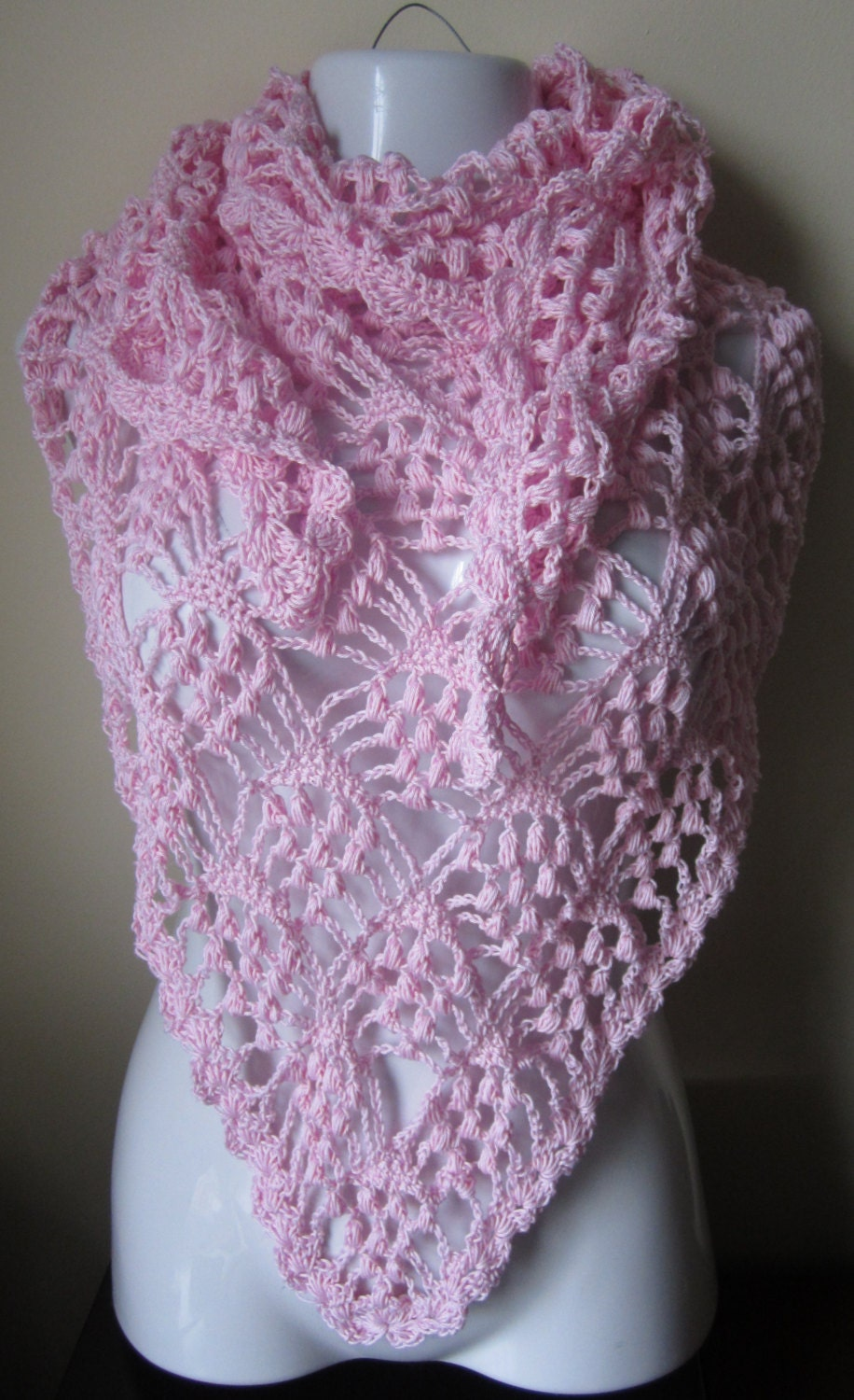 Crochet Triangle Shawl Patterns For Beginners : Items similar to Blush Pink Shawl, Crochet Triangle lace ...
