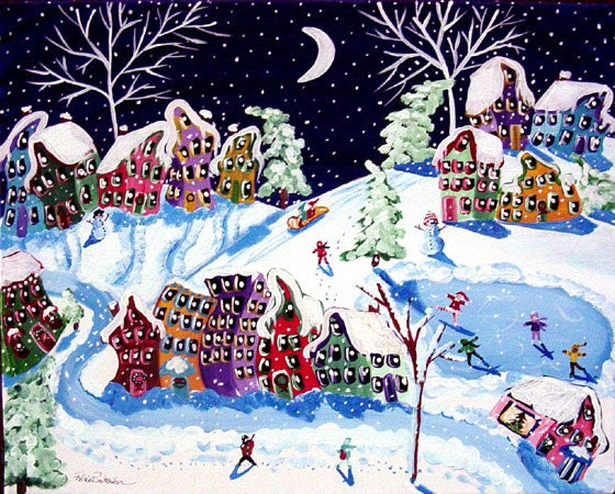 Winter Sled Ride Folk Art Kids Ice Skate Snow Whimsical Canvas Original Painting - reniebritenbucher