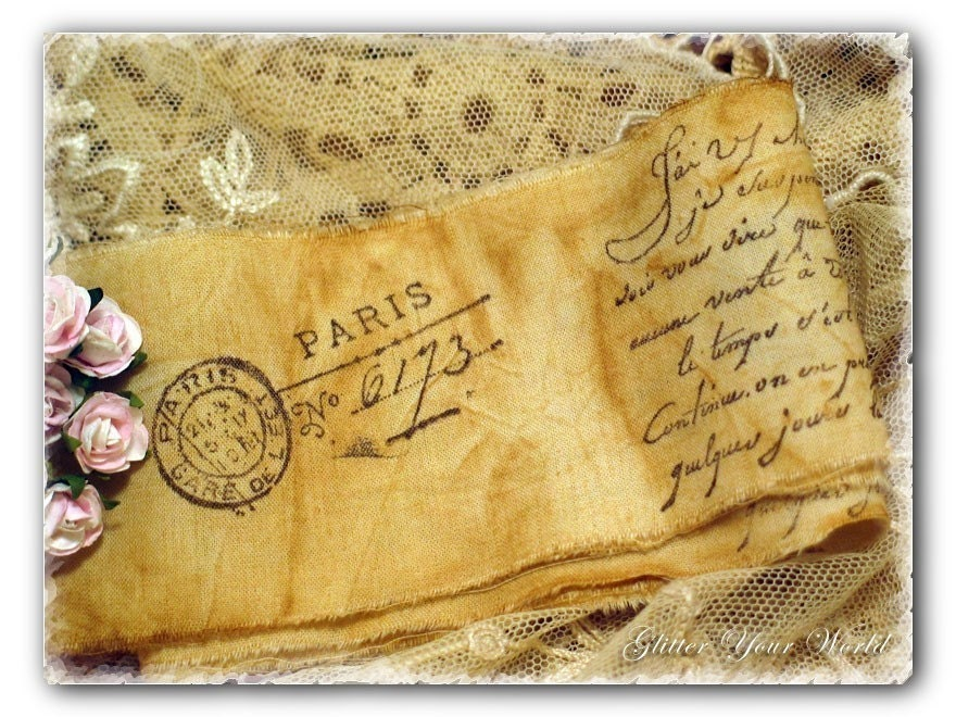 Shabby Cottage French Style Antiqued Hand Stamped Muslin Trim Ribbon German Glass Glitter 001