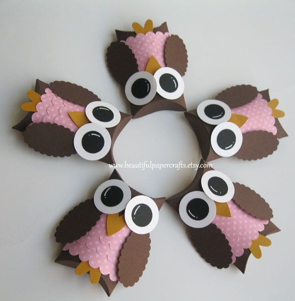 Brown and pink owl favor boxes owl baby by for Baby owl decoration