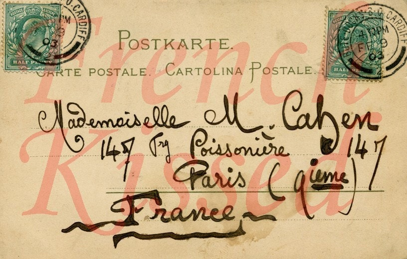 DIGITAL Scan Antique PARIS France script postcard back 1903