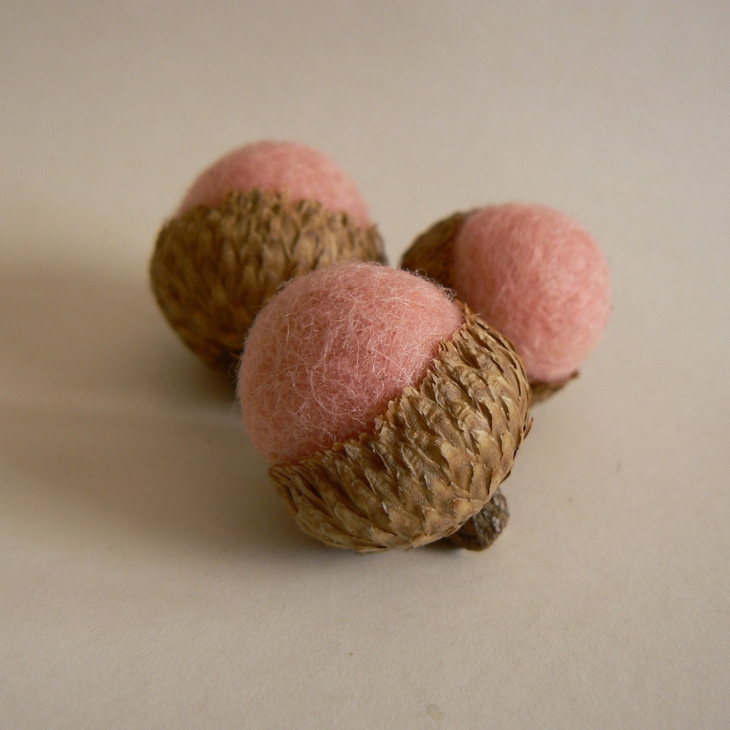 Pink  Marshmallow Felted Acorns - Set of 8.