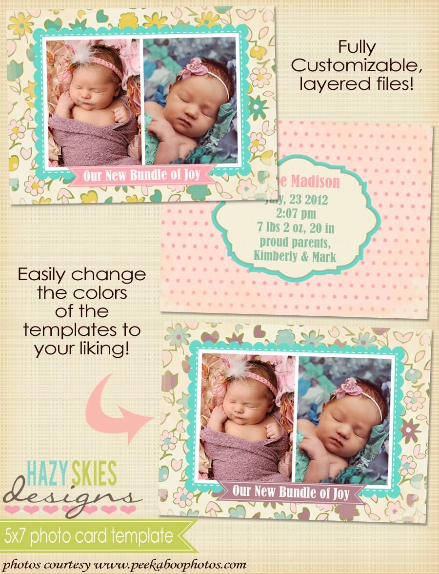 5x7 digital photo card template birth by hazyskiesdesigns on etsy. Black Bedroom Furniture Sets. Home Design Ideas