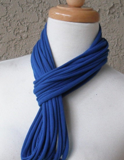 Midnight Blue Jersey Scarf, Multi-Strand, Tee Shirt ,Cotton, Circular, Infinity, Eternity, Cowl