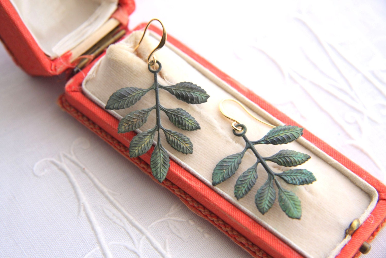 Verdigris Dangle Earrings, Victorian Patina Earrings, Nature Inspired Jewelry, Branch earrings, Secret Garden - ReyesRobledo
