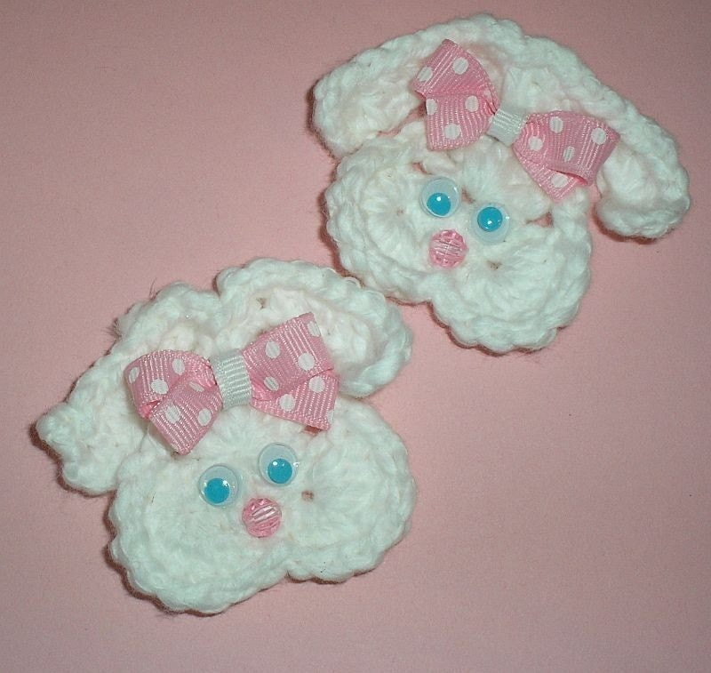 Boutique Crochet Easter Bunny Applique hair clips Set of 2